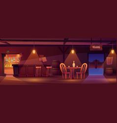 cowboy saloon western retro bar empty interior vector image