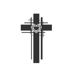 Cross christ and diamond heart vector