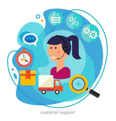 customer support concept banner square trendy vector image