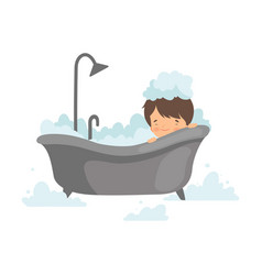 Cute boy taking bath with foam adorable little vector