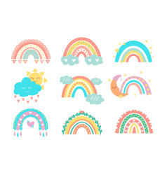 cute rainbows kids doodle collection sun vector image