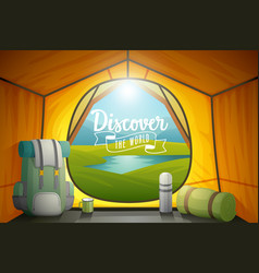 discover world poster view from inside a tent vector image