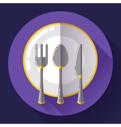 Dishes - Plate knife and fork icon Flat vector image