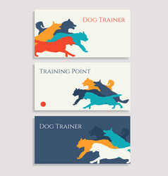 Dog sport leaflets trainer business cards vector