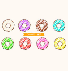 donuts with colored glaze cartoon donuts vector image