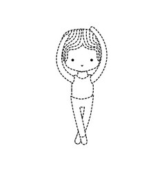 Dotted shape boy practice ballet with professional vector