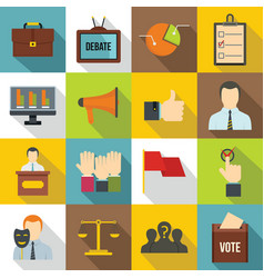 Election voting icons set flat style vector