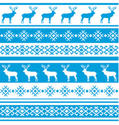 Ethnic nordic pattern with deer vector