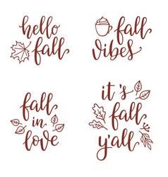 Fall calligraphy set vector