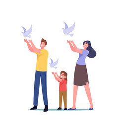 Family characters let go white doves in air vector