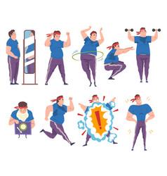 Fat man doing sport exercises set weight loss vector