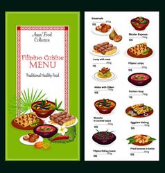 Filipino cuisine menu dishes desserts vector