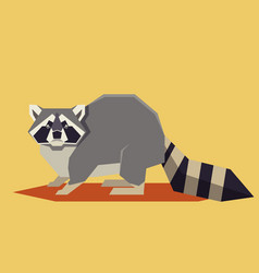 flat geometric raccoon vector image