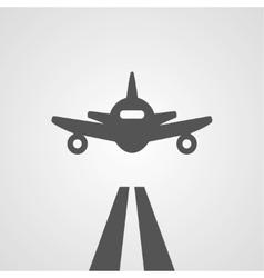 Flat gray landing plane vector