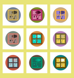 flat icons set of hail and window concept on vector image