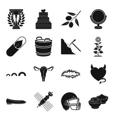Food sport dessert and other web icon in black vector