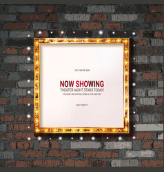 frame gold cinema on old brick wall vector image
