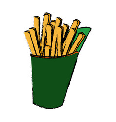 French fries fast food tasty takeaway vector