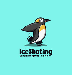 fun penguin skating mascot cartoon logo template vector image