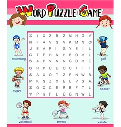 Game template with word puzzle vector image