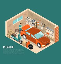 Garage inside isometric vector