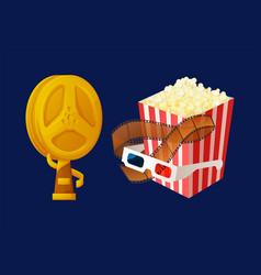 Gold award in form bobbin popcorn and glasses vector