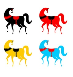 Gorodets painting colored horse set russian vector