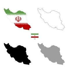 Iran country black silhouette and with flag on vector image