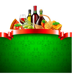 italian food with red ribbon and green background vector image
