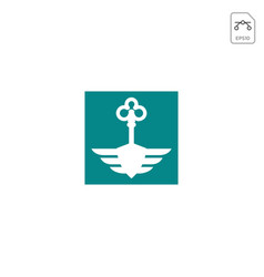 Key wings logo design icon isolated vector