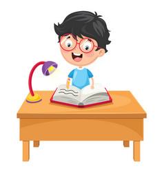 Kid writing vector