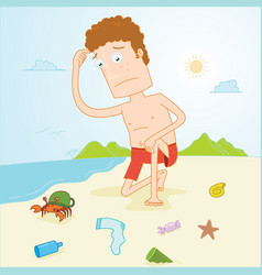man observe dirty beach vector image