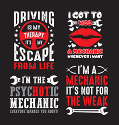 Mechanic saying quote set 100 best for print vector