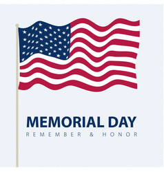 memorial day poster card with usa flag vector image