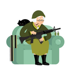 military grandmother with gun army old woman in vector image