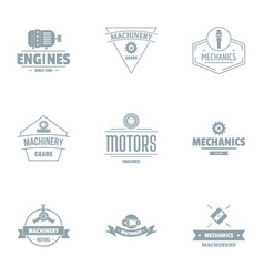 motor logo set simple style vector image