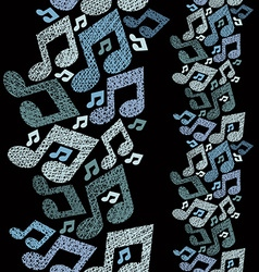 Music theme seamless pattern with notes vertical vector image