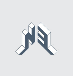 N3 - logo or code isometric 3d font for design vector