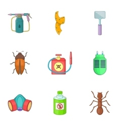 No insects icons set cartoon style vector