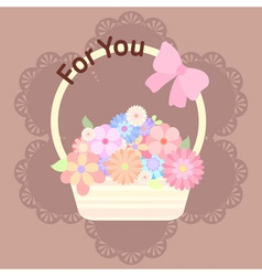 Pastel colorful flowers in basket with ribbon and vector