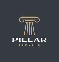 Pillar column greek ionic logo icon vector