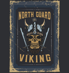 poster design with a vikings skul vector image