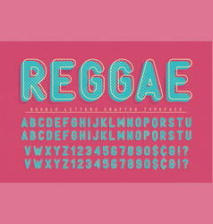 Reggae condensed display font popart design vector