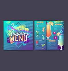 restaurant summer tropical gradient cocktail menu vector image