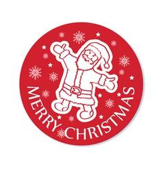 Round christmas greeting card santa vector