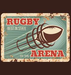 rugby sport metal plate rusty football american vector image