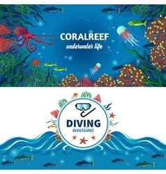 Sea Underwater Life Horizontal Banners vector