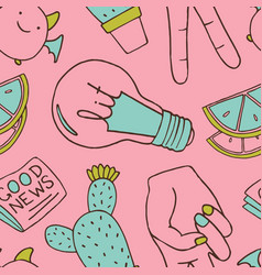Seamless pattern with patch doodles vector