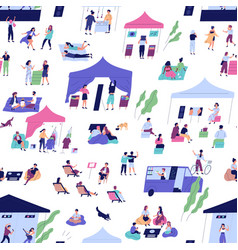 seamless pattern with people at indie open air vector image