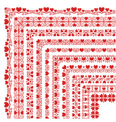 set corner brushes with hearts and flourishes vector image